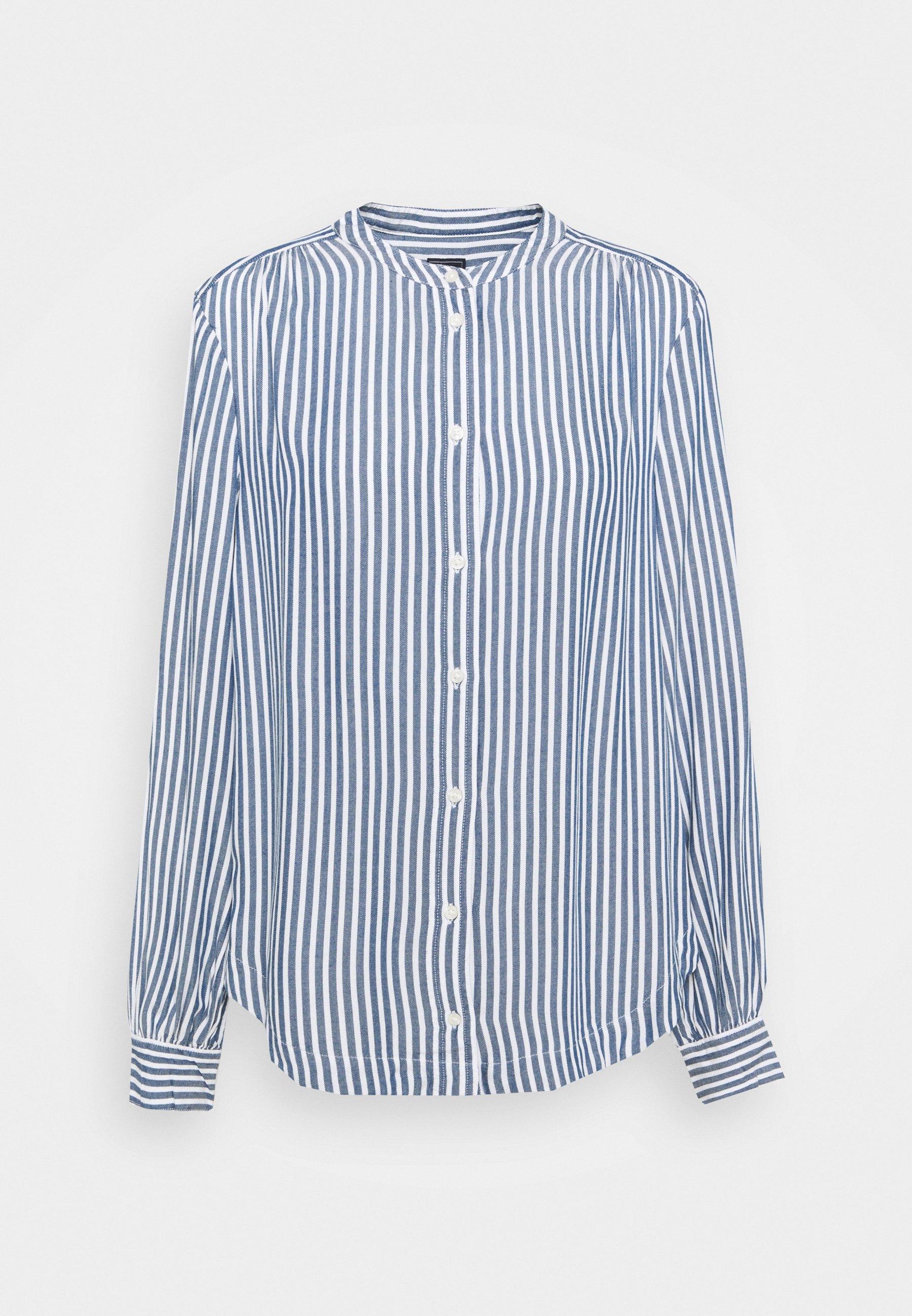 Women SHIRRED - Button-down blouse - blue