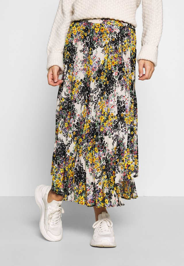 FLORAL CRYSTAL TIE PLEAT - Maxi skirt - ivory