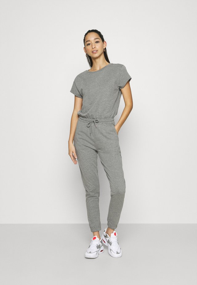 SWEAT - SHORT SLEEVES CINTERED JUMPSUIT - Tuta jumpsuit - mottled grey