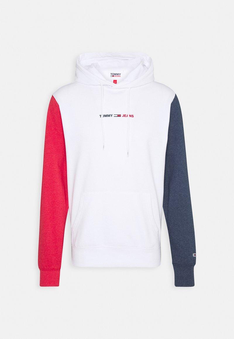 Tommy Jeans - HALF AND HALF HOODIE UNISEX - Hoodie - white/red/blue