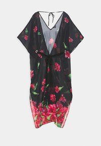 LUXE PRINT MAXI KIMONO - Beach accessory - black/pink
