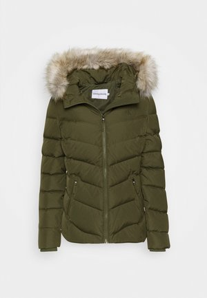 SHORT FITTED PUFFER - Kurtka puchowa - olive