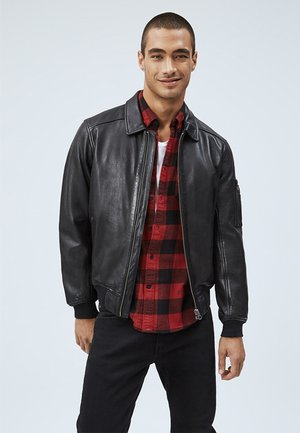 MOORE - Leather jacket - black