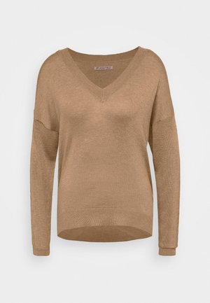 BASIC- SOFT V-NECK - Trui - camel