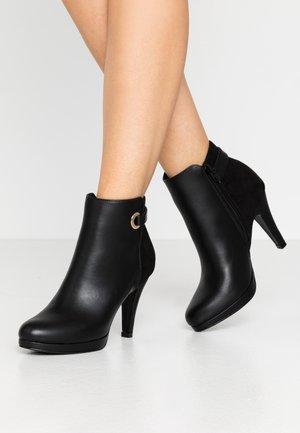 Ankelboots med høye hæler - black