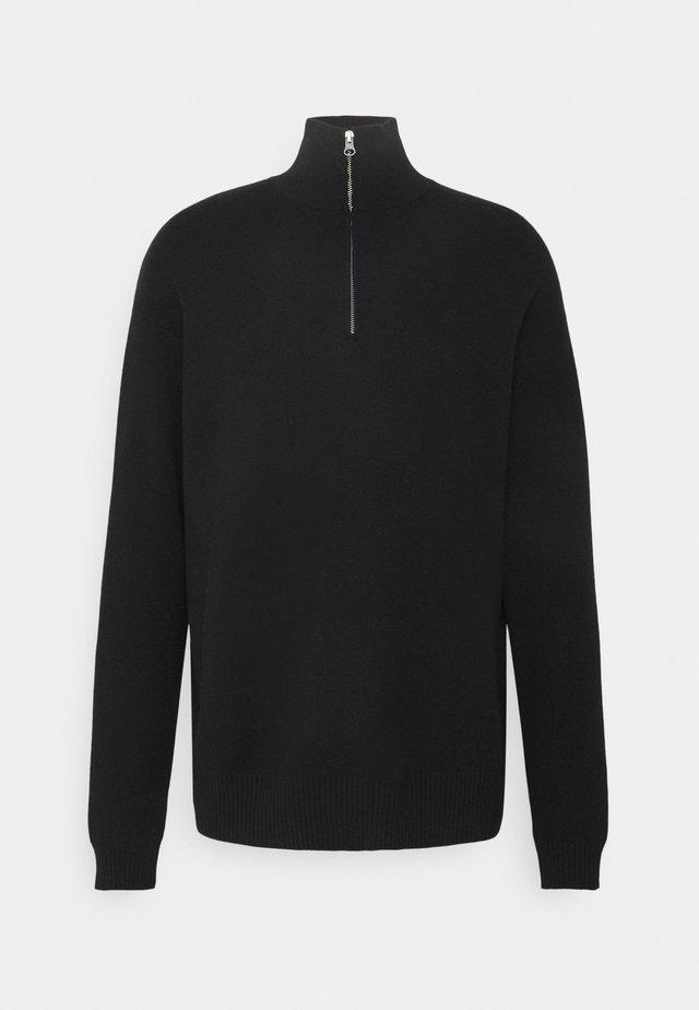 GUNA TURTLE NECK ZIP - Strikpullover /Striktrøjer - black