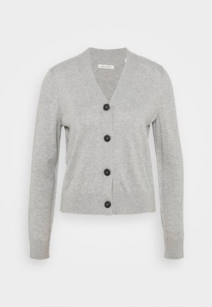 CARDIGAN LONG SLEEVE V-NECK BUTTON - Cardigan - chalk grey melange