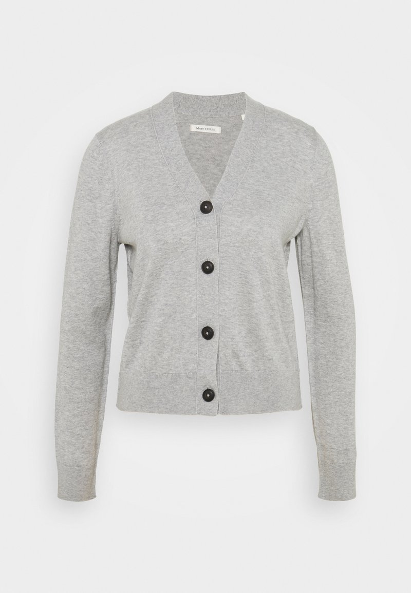 Marc O'Polo - CARDIGAN LONG SLEEVE V-NECK BUTTON - Kardigan - chalk grey melange