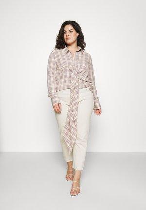 DRAPED SHIRT - Button-down blouse - lilac