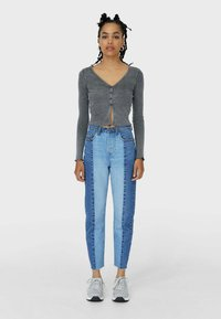 Stradivarius - PATCHWORK - Džíny Straight Fit - blue - 1