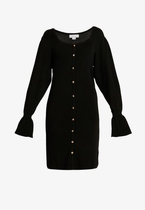 BUTTON FRONT NECK FULL SLEEVE DRESS - Gebreide jurk - black