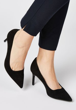 BLACK SUEDE COURT SHOES - High heels - black
