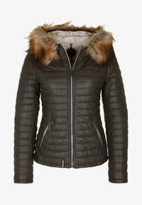 Oakwood - Leather jacket - khaki - 4