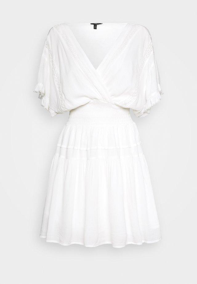 V NECK DRESS - Day dress - antique white