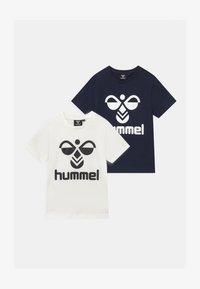 Hummel - 2 PACK UNISEX - Print T-shirt - white/navy - 0
