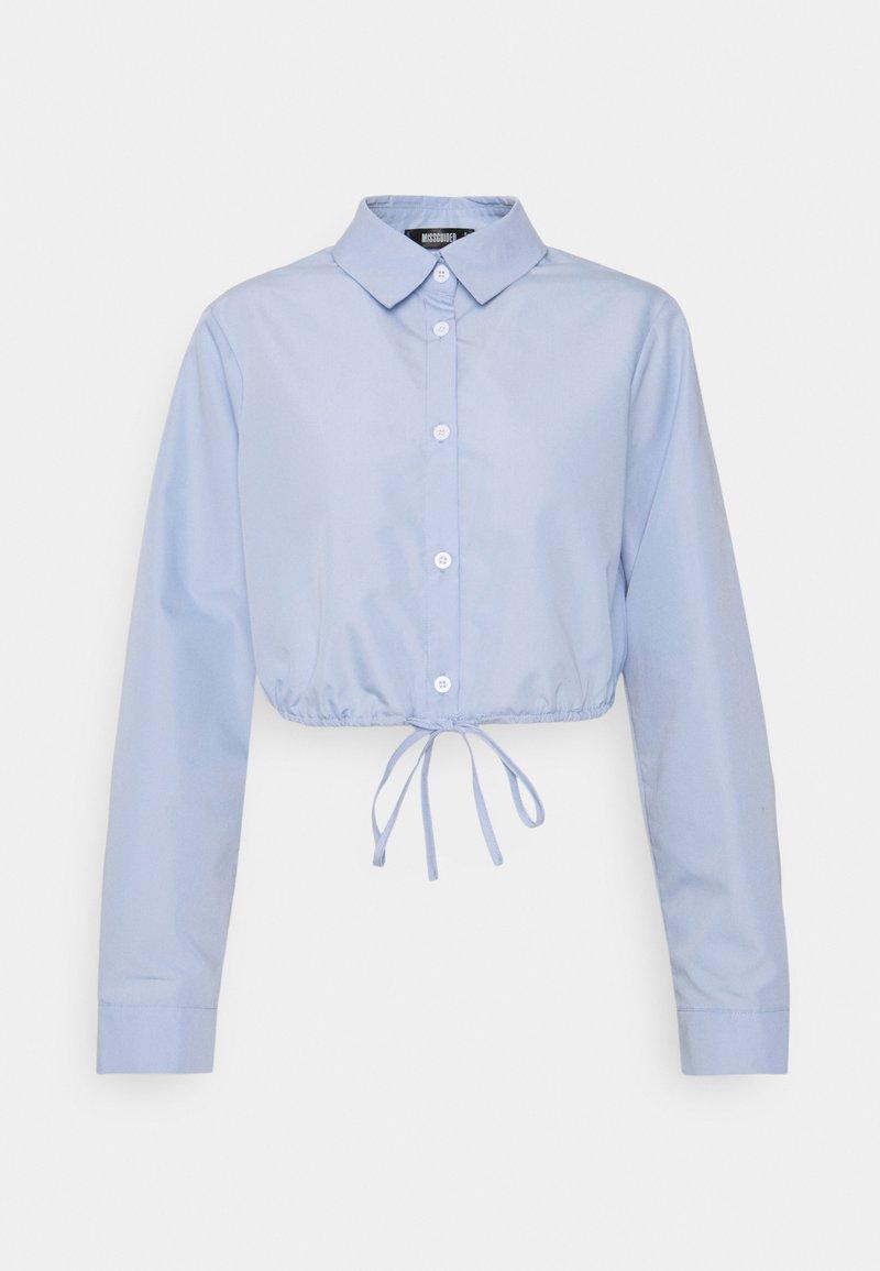 Missguided - FRONT TIE CROP SHIRT - Skjorta - baby blue