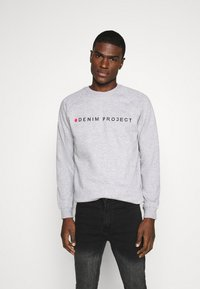 Denim Project - LOGO CREW - Felpa - mottled light grey - 0