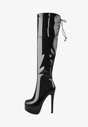 Laarzen met hoge hak - metallic black
