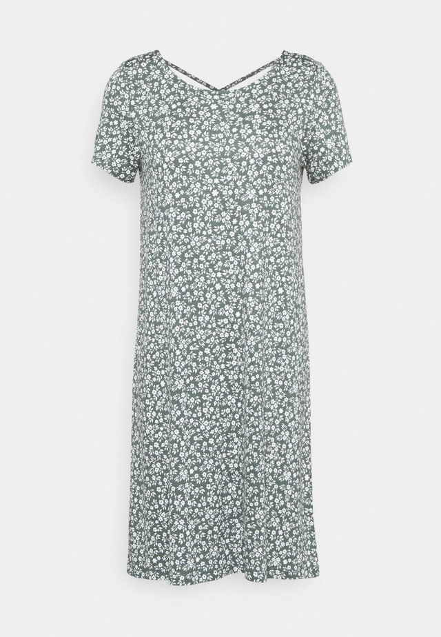 ONLBERA BACK LACEUP DRESS - Jerseykjoler - balsam green