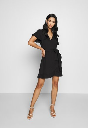WRAPPED FRILL DRESS - Kjole - black