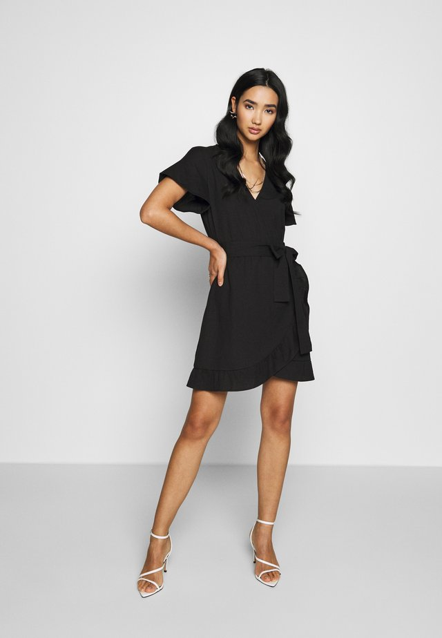 WRAPPED FRILL DRESS - Vapaa-ajan mekko - black