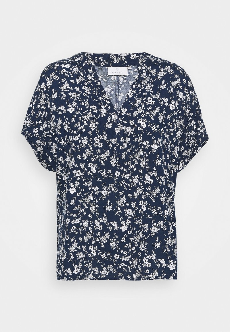 Kaffe - LUPE BLOUSE - T-shirts med print - white / midnight marine flower