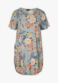 Zizzi - Day dress - light blue flower - 3