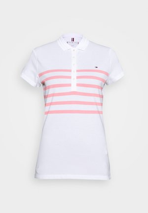 ALEX SLIM - Polo shirt - white/pink