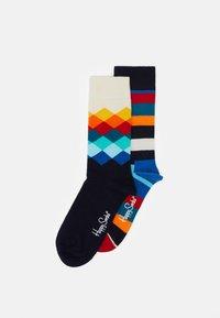 Happy Socks - STRIPES FADED DIAMOND UNISEX 2 PACK - Socks - multi-coloured - 0