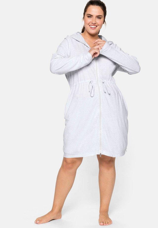 Dressing gown - grau-weiß