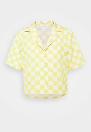 MAYA CROP SHIRT WITH OPEN WIDE COLLAR  - Button-down blouse - green checkboard