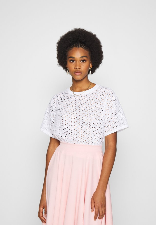 BRODERIE TEE - T-shirt print - white