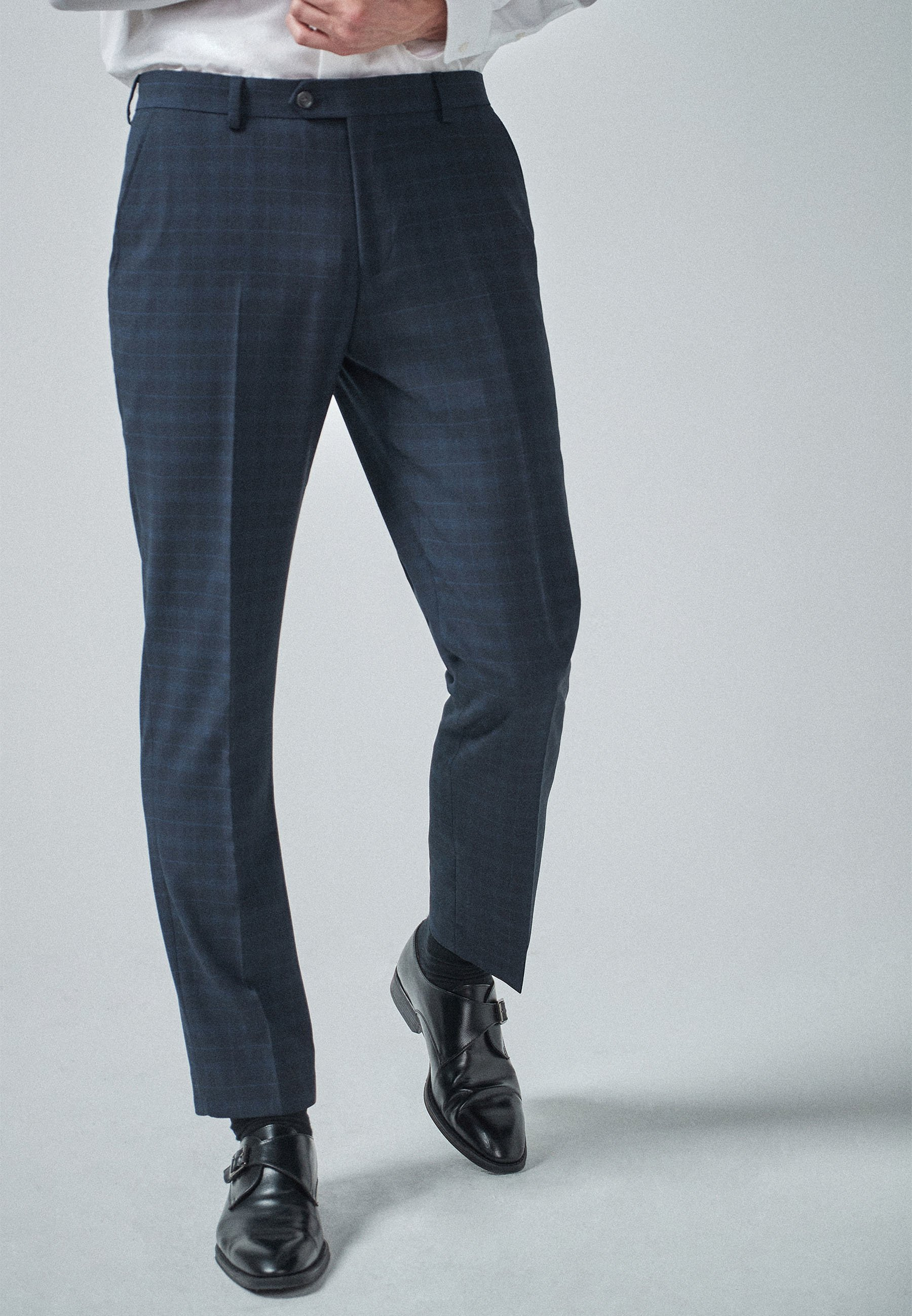 Homme NAVY/BLACK TAILORED FIT CHECK SUIT: TROUSERS - Pantalon de costume