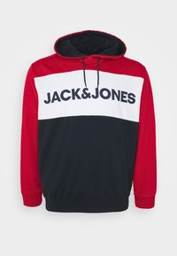 Jack & Jones - JJELOGO BLOCKING HOOD - Hoodie - tango red - 0