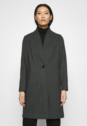 COLLARLESS UNLINED COAT - Zimní kabát - black