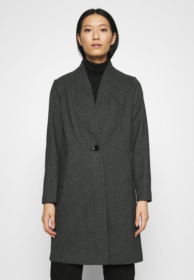 COLLARLESS UNLINED COAT - Zimní kabát - black