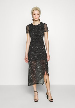 DITSY FLORAL RUCHED MIDI DRESS - Korte jurk - black