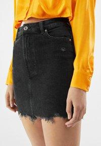 Bershka - HIGH WAIST - Denim skirt - black - 3