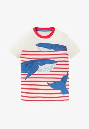 Print T-shirt - naturweiß/rot wale