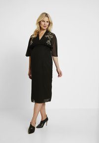 Hope & Ivy Maternity - BEADED WRAP KIMONO DRESS - Day dress - black - 0