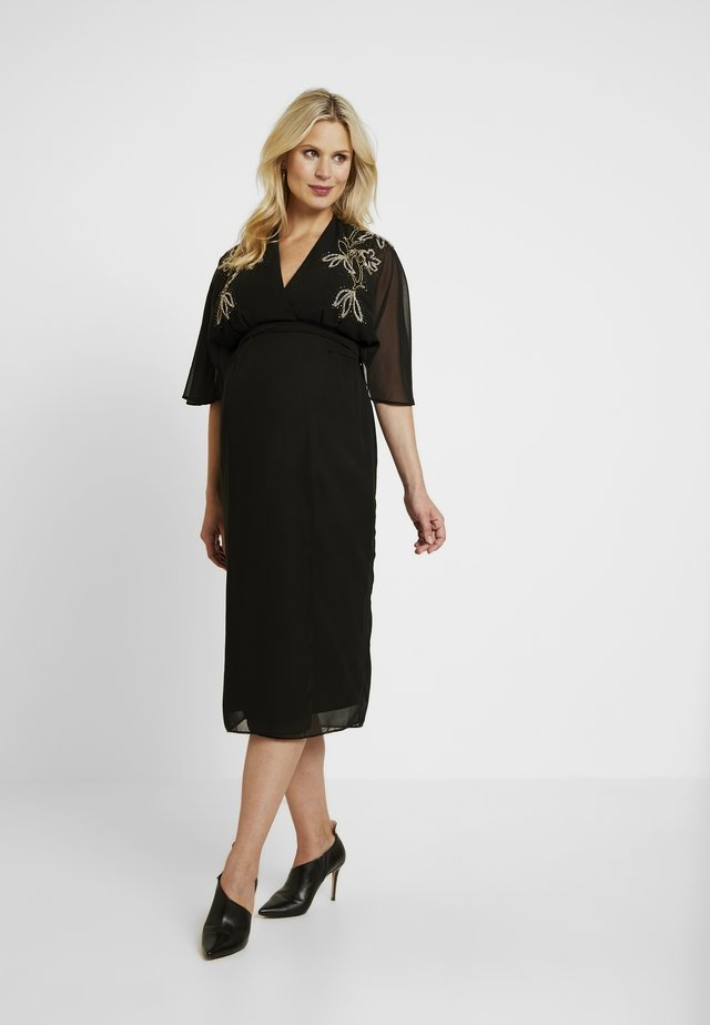 BEADED WRAP KIMONO DRESS - Vestido informal - black