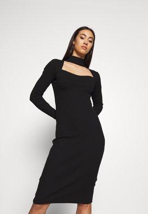 CUT OUT TURTLE NECK MIDI DRESS - Shift dress - black