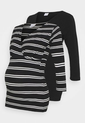 MLSIA TESS MIX 2 PACK - Long sleeved top - black/black/snow white