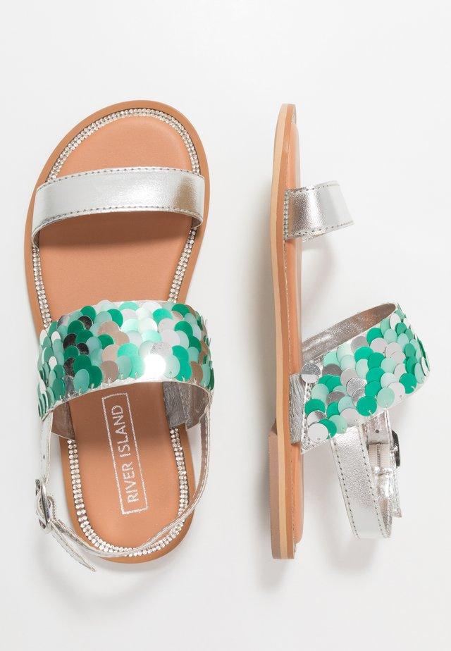 SEQUIN FLAT - Sandaalit nilkkaremmillä - turquoise