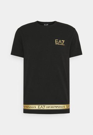T-shirt z nadrukiem - black/gold