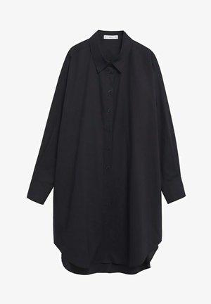 LANGE KATOENEN - Button-down blouse - zwart