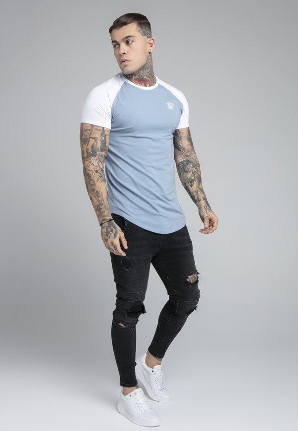 SIKSILK CONTRAST RAGLAN TEE - T-shirt basic - faded denim/white/biały Odzież Męska GSGW