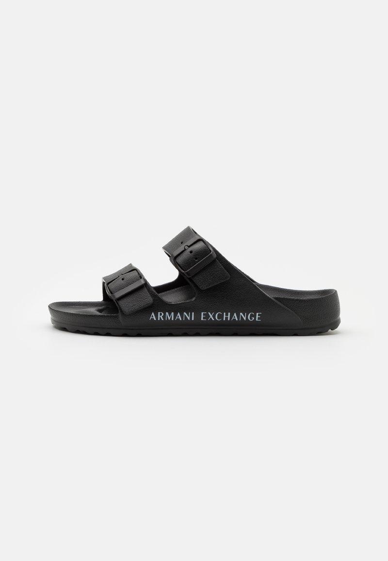 Armani Exchange - Sandalias planas - black/optic white