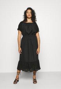 ONLY Carmakoma - CARLUCIA OFFSHOULDER CALF DRESS PLUS - Korte jurk - black - 0