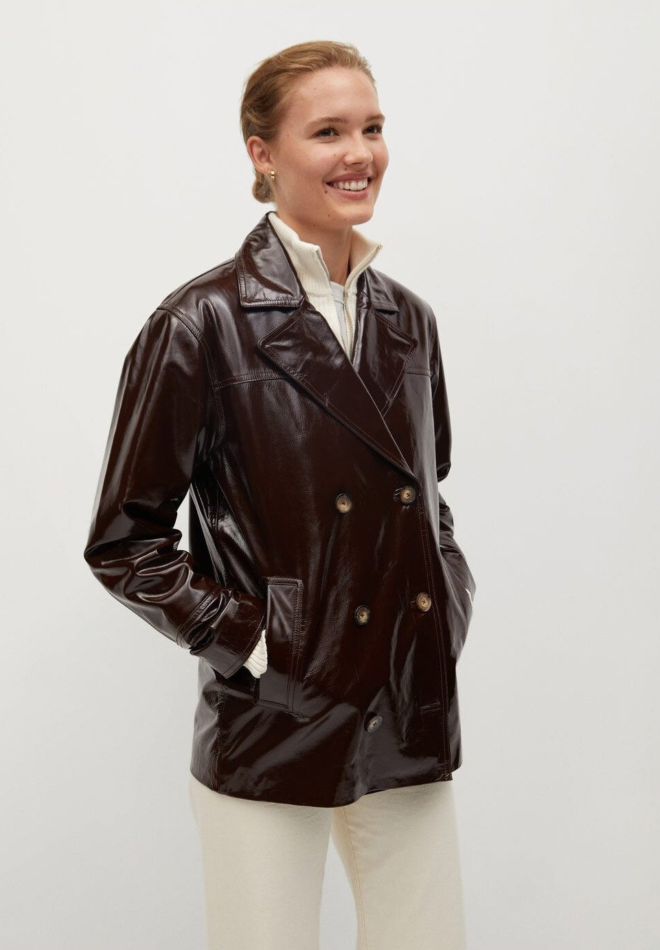 Mango Alex I Leather Jacket Braun Brown Zalando Co Uk